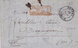 TURQUIE ENVELOPE CIRCULEE DE SMYRNE A DRAGUIGNAN, FRANCE ANNEE 1852. OBLIT PAQUEBOTS DE LA MEDITERRANEE -LILHU - Turkey