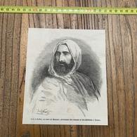 1860 MI GRAVURE PORTRAIT ABD EL ABDEL KADER EX EMIR DE MASCARA PROTECTEUR DES CONSULS ET CHRETIENS A DAMAS - Non Classés