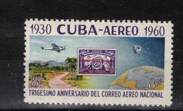 CUBA   Timbre Neuf ** De1960 - Poste Aérienne  (ref 1722 ) - Poste Aérienne