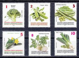 North Macedonia 2019 Vegetables Broccoli Peach Beans Cucumber Cheerlead Leaf Flora Plants, Definitive Set MNH - Vegetables