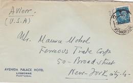 AVENIDA PALACE HOTEL. PORTUGAL COMMERCIAL COVER, CIRCULEE DE LISBONNE A BROADSTREET, ETATS UNIS ANNEE 1948 AVION -LILHU - 1910-... Republic