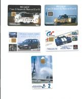 Télécartes Lot De 5 Divers Peugeot 24 Heures Du Mans Mairie De Paris DaewooChrisler Viper TB 2 Scans - Phonecards