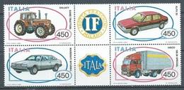 Italie YT N°1604/1607 Constructions Automobiles (timbres Se-tenant) Neuf ** - 1946-.. République