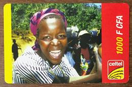 BURKINA FASO FEMME CELTEL 1.000 FCFA RECHARGE GSM PRÉPAYÉE PREPAID PHONE CARD PAS TELECARTE - Burkina Faso