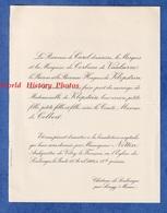 Faire Part De 1926 - Château De SOULANGES P. SONGY - Mariage Comte Maxime De COLBERT Et Mademoiselle De KLOPSTEIN - Wedding