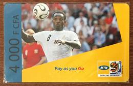 CAMEROUN CAMEROON MTN FOOTBALL RECHARGE GSM 4.000 FCFA PREPAID PAS TELECARTE CARTE PRÉPAYÉE - Camerún