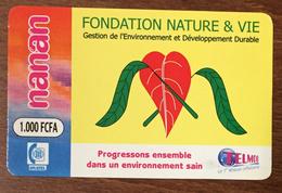 BURKINA FASO NATURE & VIE RECHARGE GSM TELMOB ONATEL 1,000 FCFA PRÉPAYÉE PREPAID PHONECARD PAS TELECARTE - Burkina Faso