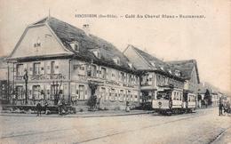 BISCHHEIM (67-Bas-Rhin) Route De Bischwiller TRAM-TRAMWAY N° 7 Café Cheval Blanc COMMERCE Editeur Christ Strasbourg - France