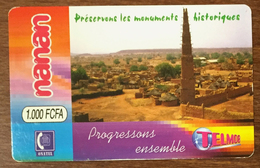 BURKINA FASO MONUMENTS HISTORIQUES RECHARGE GSM TELMOB ONATEL 1,000 FCFA PRÉPAYÉE PREPAID PHONECARD PAS TELECARTE - Burkina Faso