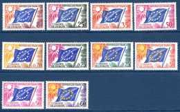 """Unesco 1958/63 Neufs** N°17,19/21,27/30,32,34 Série """"Drapeau Européen""""  TB   2,20 € (cote 12,45 €  10 Valeurs) - Service"""