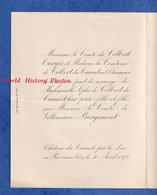 Faire Part De 1879 - ST LAURENT Sur SEVRE / LE LUC En PROVENCE - Mariage Sophie De COLBERT / Comte VILLENEUVE BARGEMENT - Wedding