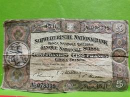 Suisse, 5 Funf Franken 1949. - Switzerland