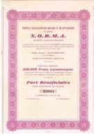 """Titre Ancien - Nouvelle Réalisation Des Moteurs Et Ses Applications """"N.O.R.N.M.A."""" - Sté Anonyme Holding- Titre De 1937 - Banque & Assurance"""