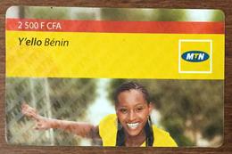 BÉNIN MTN Y'ELLO BÉNIN FEMME 2.500 FCFA RECHARGE GSM  PRÉPAYÉE PREPAID PHONECARD PAS TÉLÉCARTE - Bénin