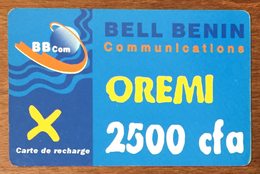 BÉNIN BELL BÉNIN 2.500 FCFA RECHARGE GSM PRÉPAYÉE PREPAID PHONECARD PAS TÉLÉCARTE - Bénin