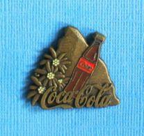 1 PIN'S //  ** COCA COLA MATTERHOM & EDELWEISS ** . (G Gratec 1992 Merci Coca Cola) - Coca-Cola