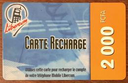 BÉNIN LIBERCOM RECHARGE GSM 2.000 FCFA PHONECARD PRÉPAYÉE PREPAID PAS TELECARTE CARTE TÉLÉPHONIQUE PRÉPAYÉE - Bénin