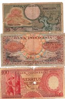 """Indonesia 25 50 100 Rupiah 1958 1959 POOR P-59 P-67a P-68a """"free Shipping Via Regular Air Mail (buyer Risk)"""" - Indonesien"""