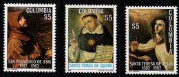 B060C-COLOMBIA- 1982 - MNH - MI#: 1597-1599- RELIGIOUS - Colombia