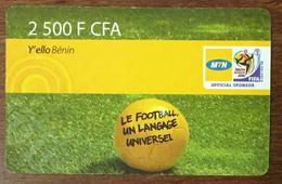 BÉNIN MTN Y'ELLO BÉNIN FOOTBALL 2.500 FCFA RECHARGE GSM  PRÉPAYÉE PREPAID PHONECARD PAS TÉLÉCARTE - Bénin