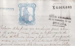 1874-PS-3 ESPAÑA SPAIN REVENUE SEALLED PAPER PAPEL SELLADO 1874 SELLO 10mo 1pta + WAR TAX - Fiscales