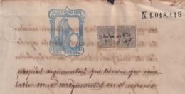 1874-PS-4 ESPAÑA SPAIN REVENUE SEALLED PAPER PAPEL SELLADO 1874 SELLO 10mo 1pta + WAR TAX - Fiscales