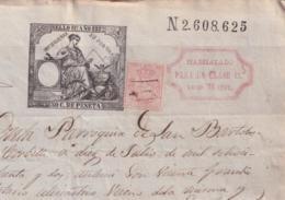 1882-PS-2 ESPAÑA SPAIN REVENUE SEALLED PAPER PAPEL SELLADO 1882 SELLO 11no HABILITADO + TIMBRE MOVIL. - Fiscales