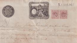 1893-PS-1 ESPAÑA SPAIN REVENUE SEALLED PAPER PAPEL SELLADO 1893 SELLO 13ro + SELLO DE CUBA. - Fiscales