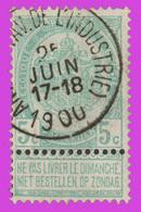 """COB N° 56 - Belle Oblitération """"ANVERS (AV. DE L'INDUSTRIE)"""" - 1893-1900 Schmaler Bart"""