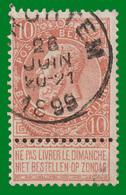 """COB N° 57 - Oblitéré """"MERCHTEM"""" - 1893-1900 Schmaler Bart"""