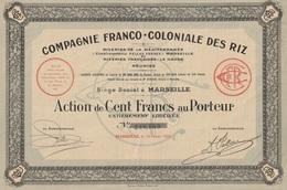 Indochine - Cie Franco-coloniale Des Riz - Action De 100 F - 1928 - Asie