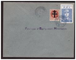 Timbre N° 4 DE GAULE F F I + 1f50 Petain Sur Lettre De PARIS Du 24.8.44. - Liberazione
