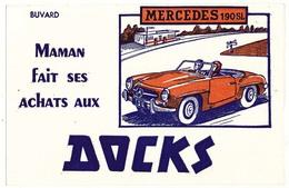 Buvard 21 X 13,5 Maman Fait Ses Achats Aux DOCKS Voiture Automobile Mercedes 190 SL - Buvards, Protège-cahiers Illustrés