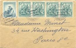 TCHECOSLOVAQUIE HONSBERK JOHANNESBERG TàD 27.VIII 37 – AU PROFIT De L'ENFANCE YT 321 + 4 YT 325 BATAILLE ZBOROV - Covers & Documents