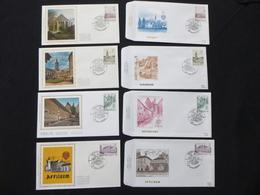 "BELG.1984  2146 2147 2148 & 2149 FDC's & FDC's Soie/zijde :  "" Abdijen / Abbayes "" - FDC"
