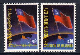 2002 Myanmar Burma Independence Anniversary  Flags Complete Set Of 2 MNH - Myanmar (Burma 1948-...)