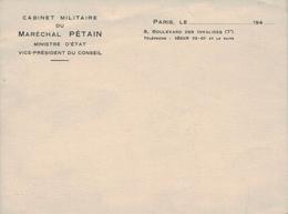 Cabinet Militaire Marechal Petain - WW II - Autres