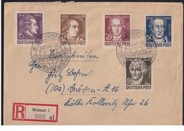SBZ.Geburtstag Von Goethe, Mi.-Nr. 234-238 Als R-Satz-Fernbrief Mit Ak-St. - Zone Soviétique