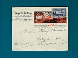 TP Poste Aerienne N° 6 B Sur Enveloppe Nice,hotel De La Plage Pour Cologne (Koln)Allemagne - Air Post