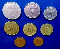 1992 - 2009 LATVIA , LETTONIA , LETTLAND 8 COINS FULL SET 1, 2, 5, 10, 20, 50 SANTIMI & 1,2 LATS Circulated  ALL VALUES - Latvia