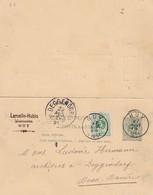DDX 115 - Entier Double Lion Couché 5 C + TP Dito HUY 1891 Vers La Bavière - Cachet Laruelle-Hubin , Pharmacien à HUY - Cartoline [1871-09]