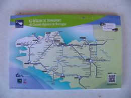 Dépliant 10 Cartes Postales SNCF TER BRETAGNE Quiberon Saint Malo Morlaix Carhaix Brest - Chemins De Fer