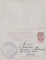 DDX 116 - Entier Double Fine Barbe 10 C  HUY (Nord) 1890 à PARIS - Cachet Illustré Société Agricole Et Horticole De HUY - Cartoline [1871-09]