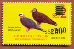 SOUTH SUDAN 2017 Surcharge Overprint Proof Unadopted 200 SSP Value On 2 SSP Birds Vulture Stamp Südsudan Soudan Du Sud - Sudán Del Sur