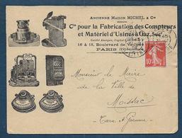 10c Semeuse Sur Enveloppe Illustrée Cie Fabrication Compteurs.... - 1877-1920: Semi Modern Period