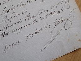 General EMPIRE Napoleon : DELORT DE GLEON (1811) HAMBOURG Hamburg HOLSTEIN AUTOGRAPH Autogramm - Autographs