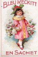 Image, Chromo. Bleu Reckitt. Enfant,chapeau Et Fleurs. - Cromo