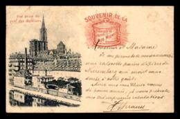 67 - STRASBOURG - VUE PRISE DU QUAI DES BATELIERS - PUBLICITE FABRIQUE DE PATES AUG. MICHEL - VOIR ETAT - Strasbourg