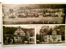 Gruß Aus Bergheim / Ortenberg In Hessen. Alte, Seltene Mehrbild AK S/w. Ortsansicht Totale, Gastwirtschaft Von - Allemagne