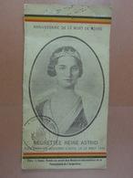 Calendrier Reine Astrid 1937 Photo Et Histoire De L'accident - Calendriers